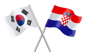 Flags : South Korea and Croatia