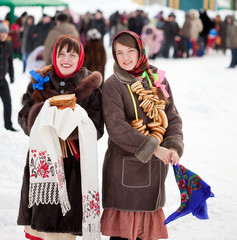 girls celebrating  Shrovetide  at Russia