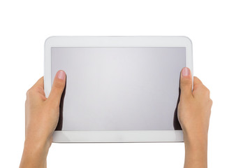 female teen hands holding generic white tablet pc, isolated