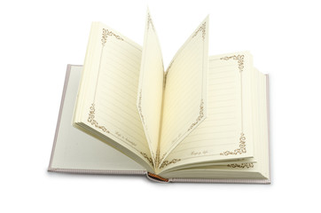 open notebook- blank pages on white with clipping path