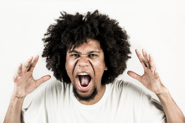 Facial expression of man - screaming