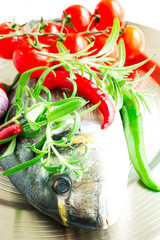 Fresh raw fish in mix of food ingradients high key