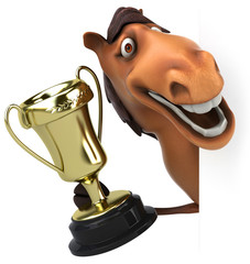 Horse and trophy
