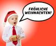 Kind wünscht fröhlichliche Weihnachten