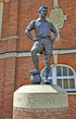 The statue of the football legend at Fulham stadium in London - 66079704