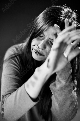Keuken foto achterwand Vlinders in Grunge Portrait of woman asking for help after abuse and violence