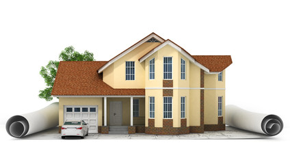 a stylized house model with floor plan, ruler and pencil, isolat
