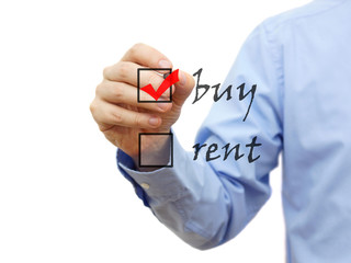 Buy not rent concept on checklist