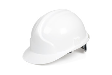 White hard hat isolated on white with clipping path.