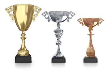 golden,silver and bronze trophies