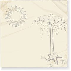 tropical palm tree and sun sketch