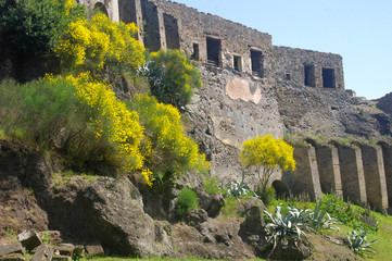 Ancient wall and ruins surrounding the lost city of Pompeii