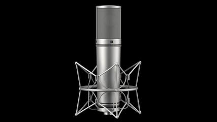 studio microphone loop rotate on black background