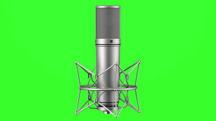 studio microphone loop rotate on green chromakey background