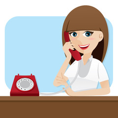 cartoon smart girl using telephone