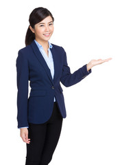Business woman open palm hand