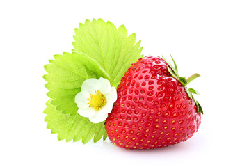 Strawberry with a flower and a leaf.