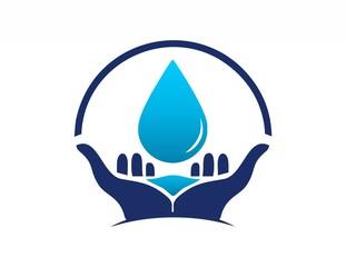 global hands water drop logo symbol icon