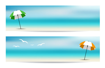 Summer Banners with an Umbrella
