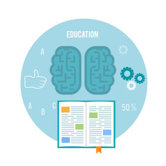 Book with brain. Education concept