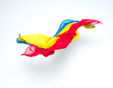 abstract colorful pieces of fabric flying poster