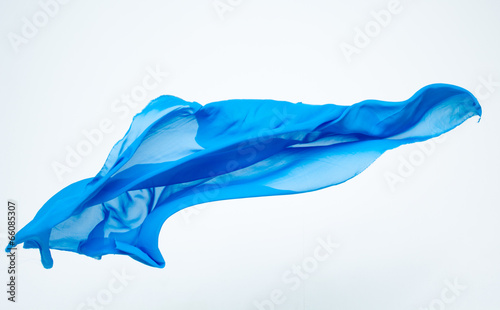 abstract piece of blue fabric flying - 66085307