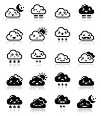 Cute cloud, Kawaii, Manga icons expressions, happy, sad, angry