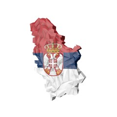 Low Poly Serbia Map with National Flag