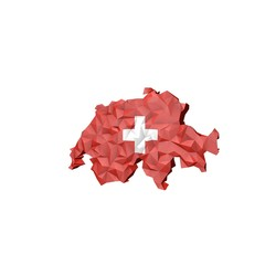Low Poly Switzerland Map with Nationa