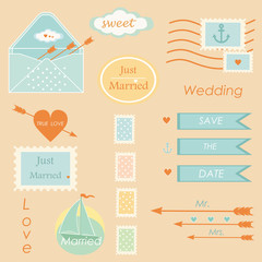 postal wedding set vector elements vector