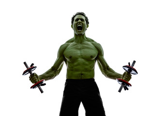man weights body builders training  exercises strong like hulk