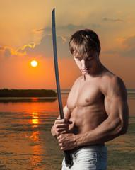 Warrior at sunset
