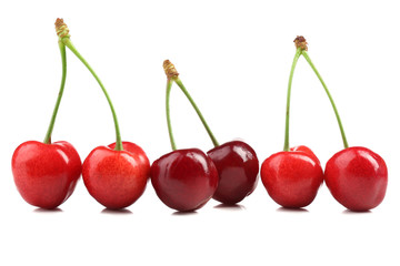 Sweet cherries, isolated on white
