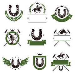 Horse and polo set. Vector