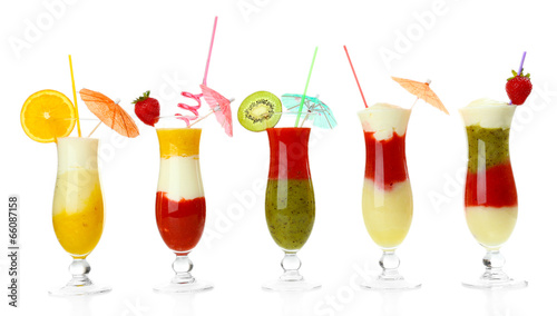 Delicious fruit smoothie isolated on white