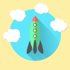 rocket and clouds, run a business concept