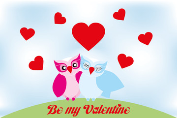 Valentine day lovely owls greeting card