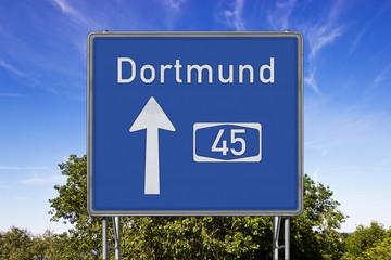 Autobahnschild A45 Dortmund