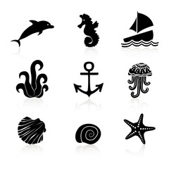 Set of 9 icons Marine life