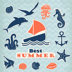 Set of vector stickers with marine life