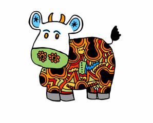 mucca su sfondo bianco