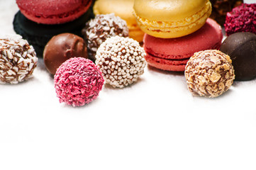 Colorful macaroons and candies