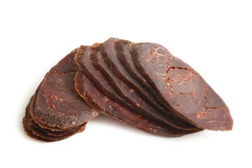 Slices of dried cured beef