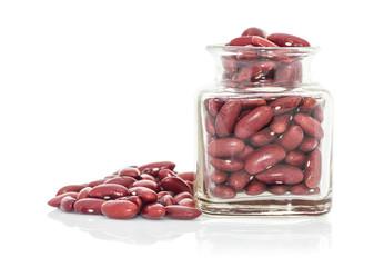 Bottle full of Kidney  beans white background
