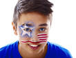 boy with stars and stripes face paint