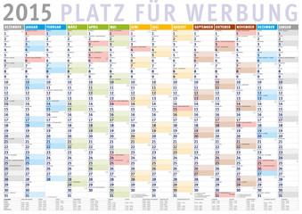 Kalender 2015 (Dezember 2014 bis Januar 2016) mit Ferien
