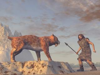 Hombre prehistórico encontrándose con un tigre diente de sable