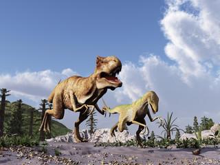 tiranosaurio persiguiendo a un velociraptor