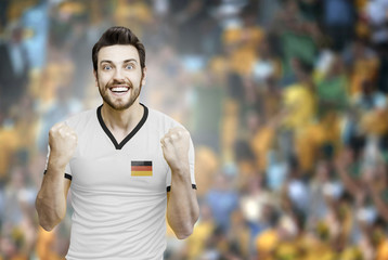 German soccer player celebrates on the stadium