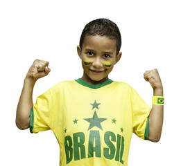 Brazilian fan celebrate on white background